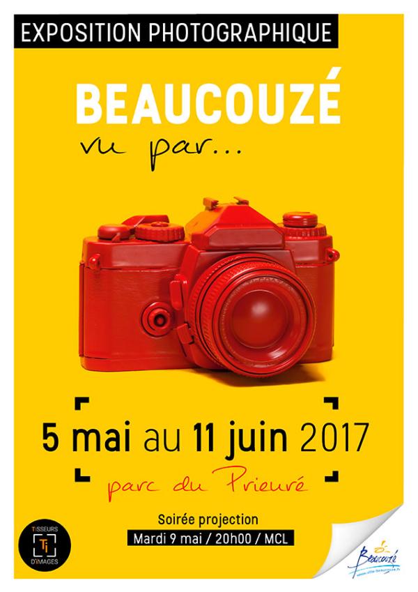 Affiche exposition Beaucouzé vu par... un appatreil argentique rouge sur un fond jaune du 5 mai au 11 juin 2017