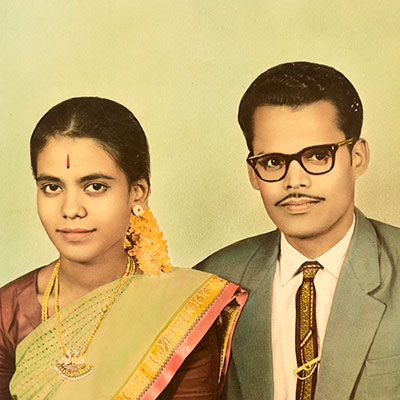 portraits couple indien vielle photo colorise